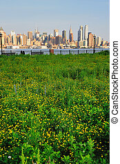 New York City Manhattan midtown skyline view from New Jersey...