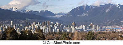 Vancouver BC City Skyline and Mountains - Vancouver BC...