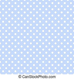 White Polka Dots on Pale Blue - Seamless white dotted...