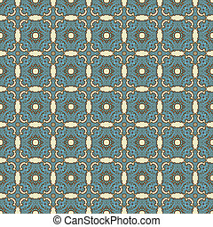 Blue & Brown Lacy Medallions - Seamless allover blue and...
