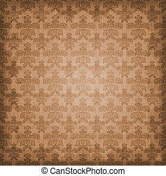 Shaded Brown Damask Background - Warm brown damask with...