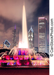 Buckingham Fountain and urban city skyline - Chicago skyline...