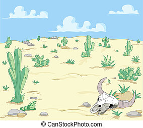Desert Landscape - A Desert Landscape with cactuses and...