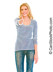 Smiling beautiful teen girl showing  thumbs up gesture isolated on white