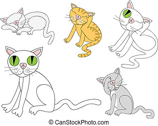 Cat doing cat-like things - Fun vector spot illustrations of...