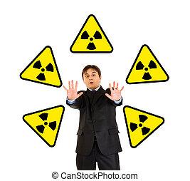 concept-radiation, danger!, Retrato, assustado, homem...