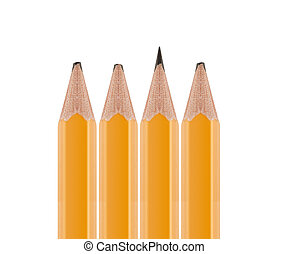 Sharpened pencil flipped in group of broken ones isolated on...