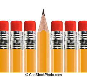 Sharpened pencil out of Row isolated on white background