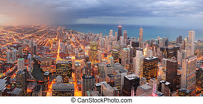 Chicago downtown aerial panorama view at dusk with...