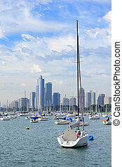 Chicago and Lake Michigan - Chicago city downtown urban...