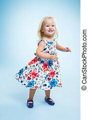 pequeño, niña, bien vestido