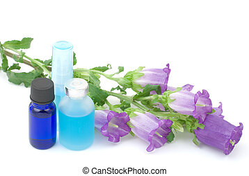 Blue essential oil and flower - Blue essential oil and...