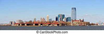 New Jersey skyline from New York City Manhattan downtown -...