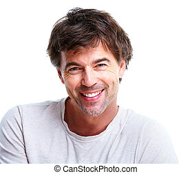 Happy young man. - Happy handsome smiling man. Isolated over...
