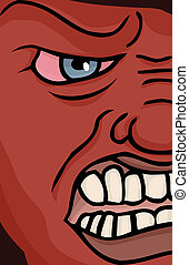 Enraged Face - Close up illustration of a red enraged face