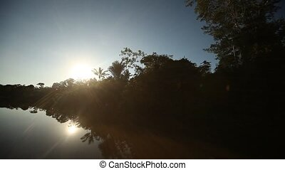 Sun over Amazon River
