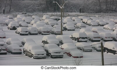 Snowstorm parking lot Two shots - Parking lot the morning...