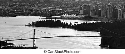 Vancouver BC City Skyline and Lions Gate Bridge - Vancouver...