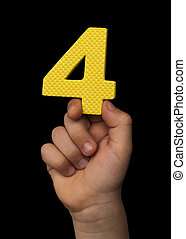 Children hand holding the number Four.