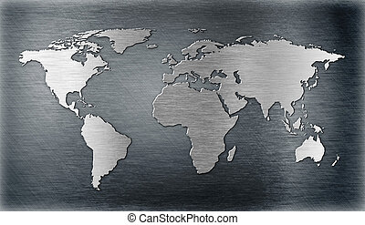 world map relief or shape on metal plate
