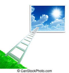 stair is get away from land in cloudy sky on a white...