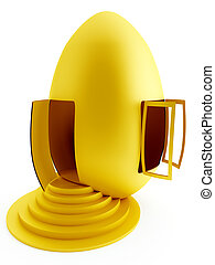 funny house as a gold egg with the opened window and door