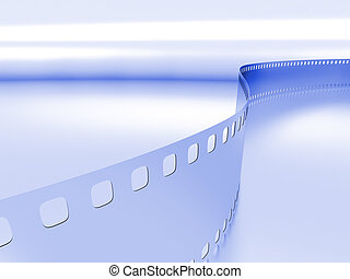 model of a photo film on a blue metallic background