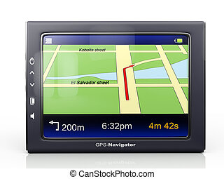 Images 3d: gps-navigator with a card of territory and the...