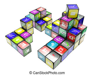 3d an illustration: compositions from black cubes and icons on a white background