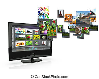 3d an illustration: the TV with pictures costs on a white...