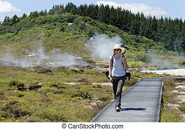 Craters of the Moon, Lake Taupo, New Zealand - A woman...