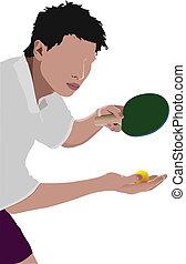 joueur,  pong, vecteur,  ping,  silhouette