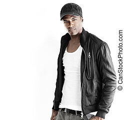 Black male fashion model - Portrait of a good looking young...