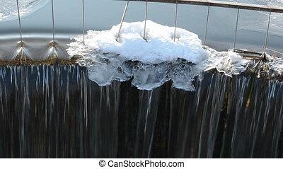 winter lake dam waterfall detail