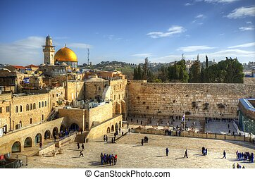 Jerusalem - The Western Wall and Dome of the Rock in...