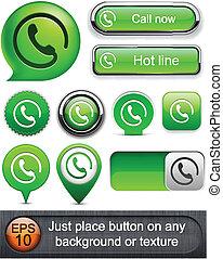 Call high-detailed modern buttons - Call green web buttons...