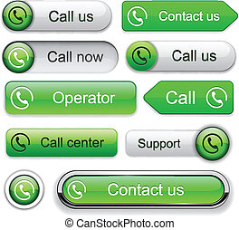 Call high-detailed modern buttons - Call green web buttons...