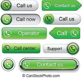 Call high-detailed modern buttons. - Call green web buttons...