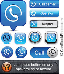 Call high-detailed modern buttons - Call blue web buttons...