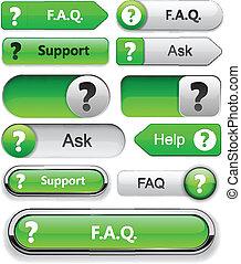 Question high-detailed modern buttons. - FAQ green web...