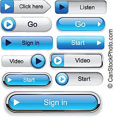 Play high-detailed modern buttons - Play blue web buttons...