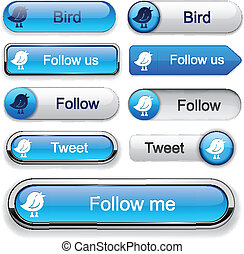 Bird high-detailed modern buttons - Bird blue web buttons...