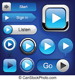 Play high-detailed modern buttons. - Play blue web buttons...