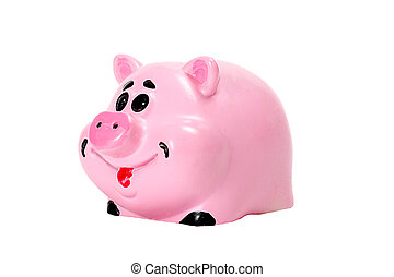 Pink pig - moneybox for money over white
