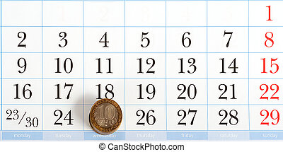 Payday on the list of calendar with coins