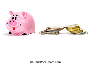 Pink pig moneybox and money over white