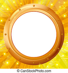 Frame porthole on gold background