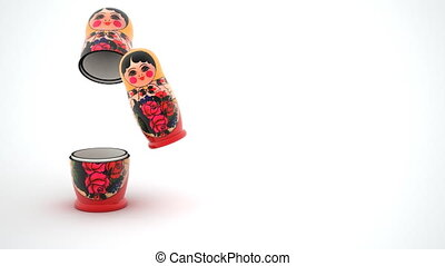 Russian dolls - matryoshka are arranged in a row, FullHD 3d...