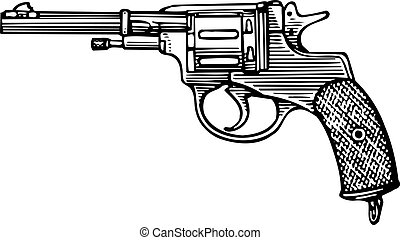 Revolver - Pistol revolver sidewise isolated on white...