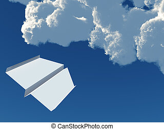 paper airplane on a background blue sky and clouds